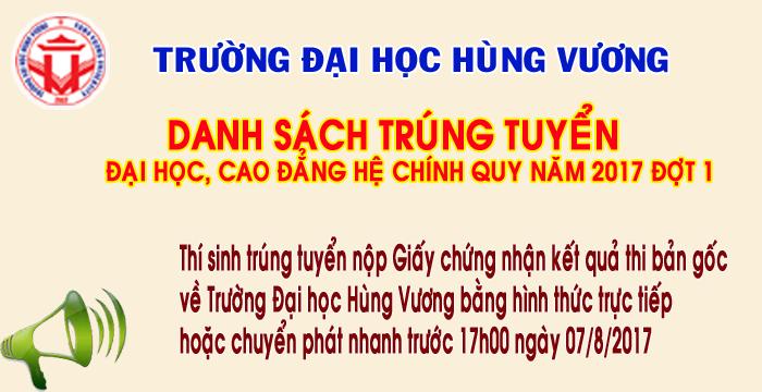Thong bao danh sach thi sinh trung tuyen dai hoc, cao dang he chinh quy nam 2017 (dot 1)