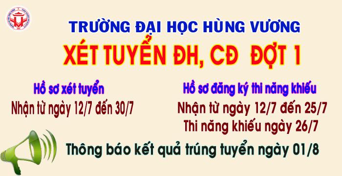 Thong bao xet tuyen dai hoc, cao dang he chinh quy nam 2017 – dot 1