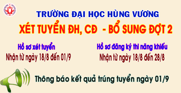 Truong Dai hoc Hung Vuong thong bao xet tuyen dai hoc, cao dang he chinh quy nam 2017 – bo sung dot 2