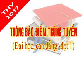 Thong bao diem trung tuyen va danh sach trung tuyen dai hoc, cao dang he chinh quy nam 2017 (dot 1)