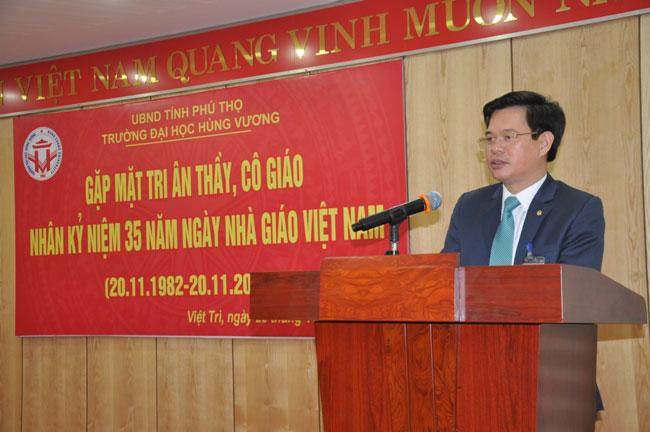 Toan van bai phat bieu cua Hieu truong Truong Dai hoc Hung Vuong tai buoi gap mat, tri an thay, co giao nhan ky niem 35 nam ngay Nha giao Viet Nam (20/11/1982-20/11/2017)