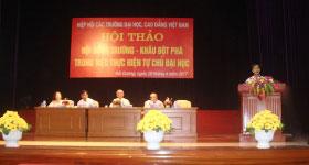 "Truong Dai hoc Hung Vuong tham gia Hoi thao ""Hoi dong truong – Khau dot pha trong viec thuc hien tu chu dai hoc"" tai Truong Dai hoc Sao Do"