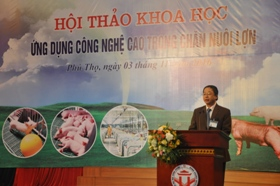 "Truong Dai hoc Hung Vuong phoi hop voi Hoi chan nuoi Viet Nam va cac doanh nghiep to chuc Hoi thao khoa hoc ""Ung dung cong nghe cao trong chan nuoi lon"""