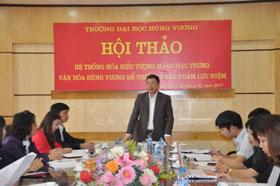 Truong Dai hoc Hung Vuong to chuc Hoi thao He thong hoa bieu tuong mang dac trung van hoa Hung Vuong de thiet ke san pham luu niem