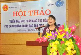 Truong Dai hoc Hung Vuong phoi hop to chuc Hoi thao trien khai Hoc phan Giao duc hoa nhap cho cac chuong trinh dao tao giao vien tieu hoc