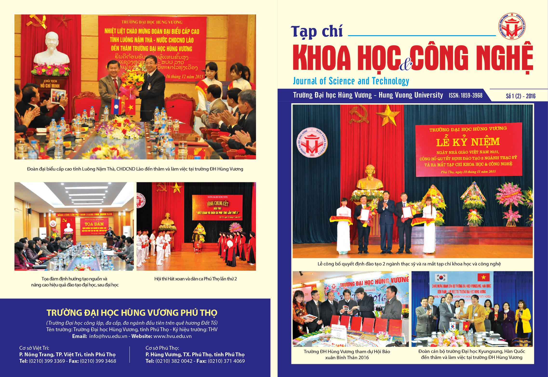 Tap chi Khoa hoc Cong nghe so 2 - 2016