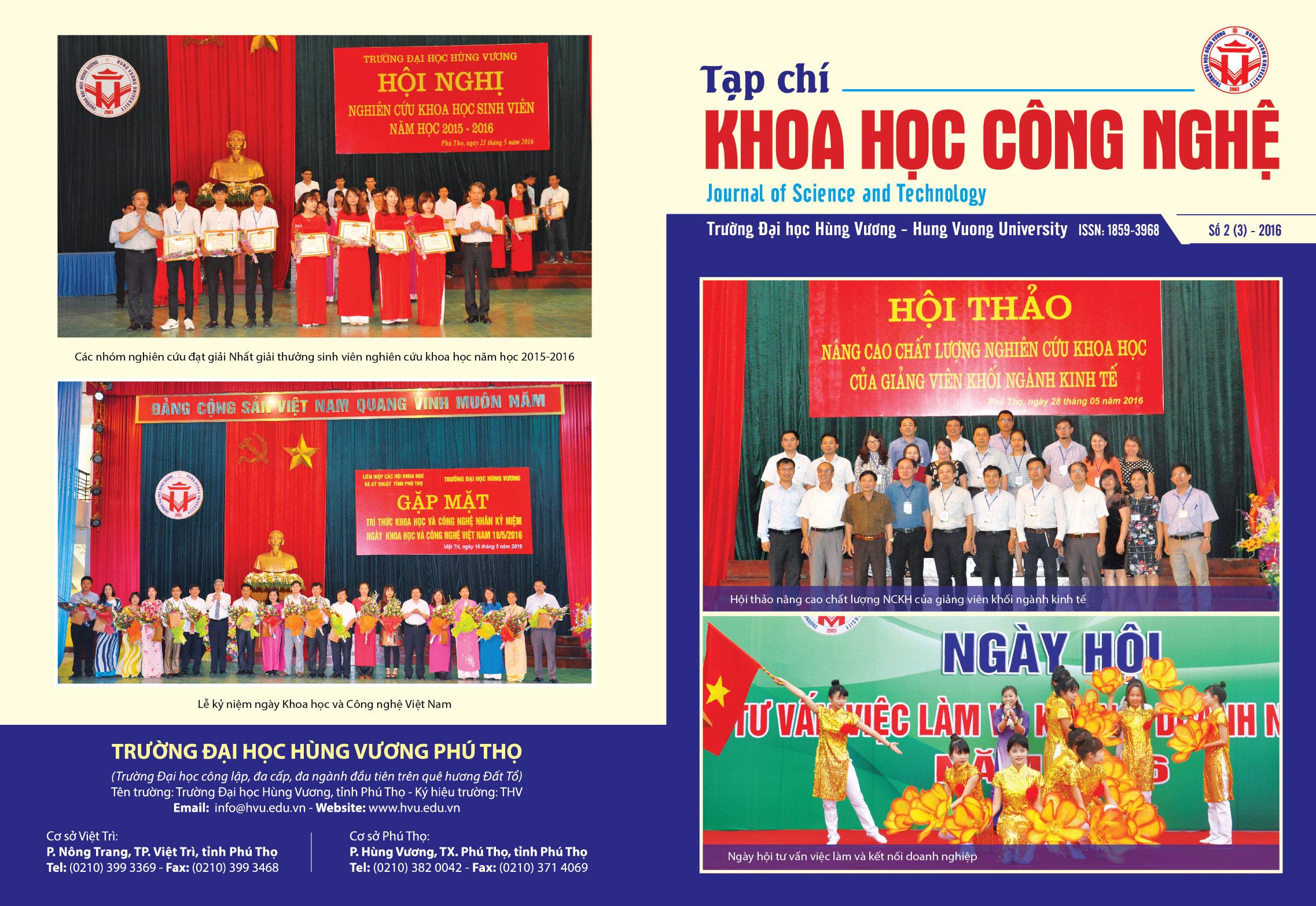 Tap chi Khoa hoc Cong nghe so 3 - 2016