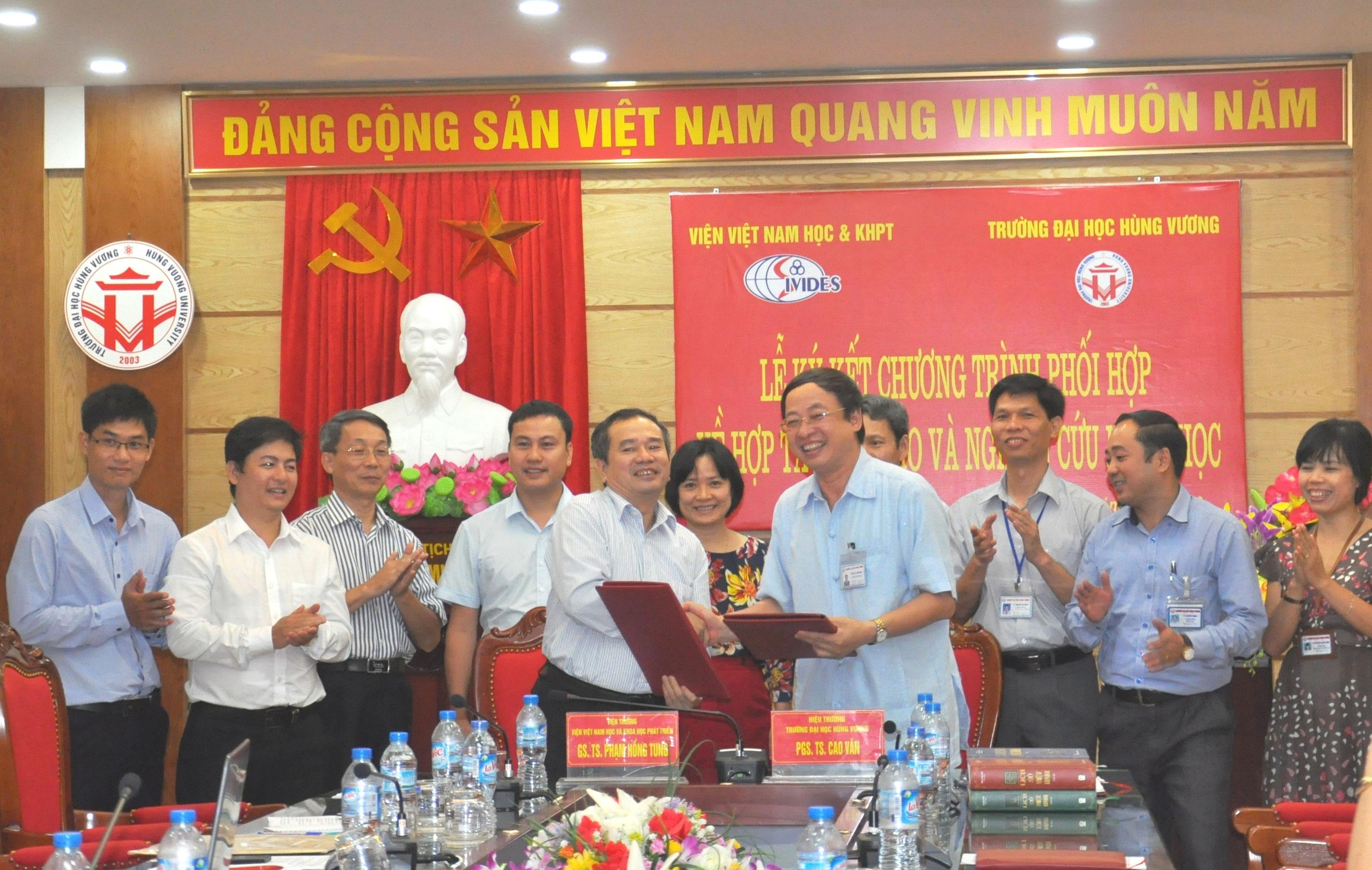 Le ky ket Chuong trinh phoi hop giua Truong Dai hoc Hung Vuong va Vien Viet Nam hoc va Khoa hoc phat trien, Dai hoc Quoc gia Ha Noi