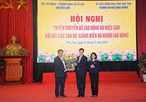 Truong Dai hoc Hung Vuong phoi hop voi Cuc Viec lam, Bo Lao dong – Thuong binh va Xa hoi to chuc Hoi nghi tuyen truyen ve viec lam va cac chinh sach doi voi can bo giang vien, nhan vien va nguoi lao dong